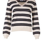 Trui Saint Tropez T2509 Striped Knit W Metal - Gebroken Wit