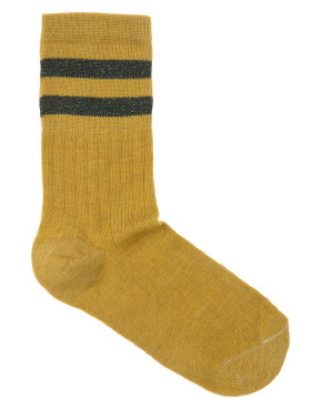 Kous By-Bar Sparkle Stripe Sock - Mustard