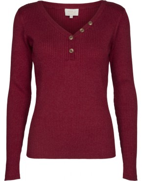 Top Minus MI3172 Jolan Knit Ls Tee- Bordeaux