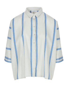 Blouse By-Bar 20112006 Norel Striped Blouse - Powder Blue