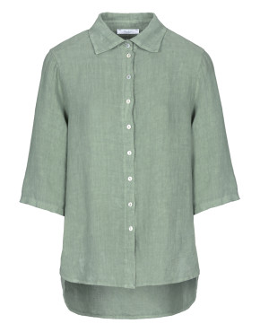 Blouse By-Bar 20112020 - Bodil Linen Blouse - Bright Olive