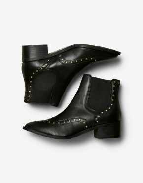 Enkellaars Selected Femme - Ellen Stud Leather Boot - Zwart