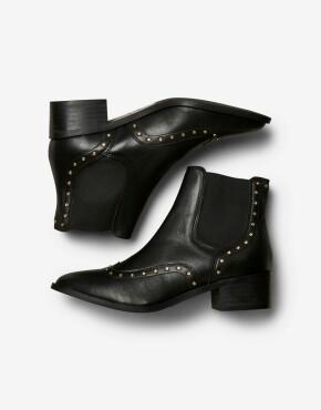 Enkellaars Selected Femme - Ellen Stud Leather Boot - Zwart
