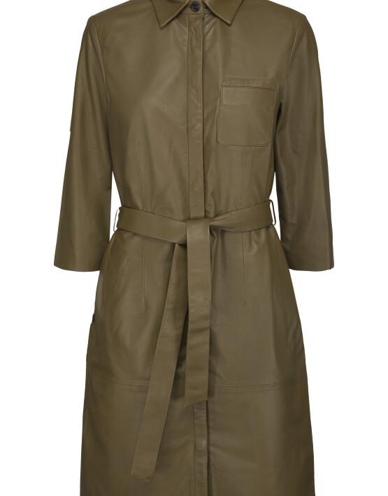 Jurk Minus MI3442 - Raymon Leather Dress - Olive