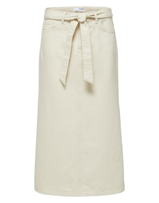 Rok Selected Femme 16079947-Alma Denim Skirt-Crème