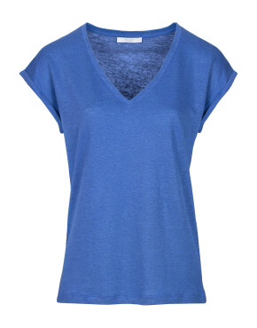 T-shirt By-Bar 21211013 - Mila Linen Top - Kingsblue - 69,95€